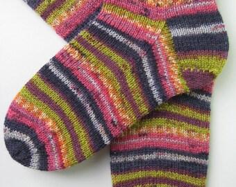 hand knitted womens wool socks, UK 4-6 US 6-8, ladies socks, pink blue green socks, childrens socks, handknit socks, multicolour wool socks
