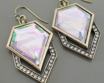 Vintage Inspired Earrings - Art Deco Earrings - Opal Earrings - Crystal Earrings - Antiqued Gold Earrings - Pink Earrings - handmade jewelry