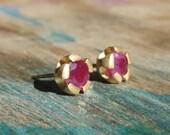 Ruby Earrings , Ruby Studs , Gold Stud Earrings ,  Ruby Earrings, Red Studs , July Birthstone Earrings , 18k Gold Earrings