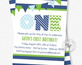 First Birthday Invitation, Blue and Green Party Invitation, Boy 1st Birthday Invitation, ONE Invitation, Preppy