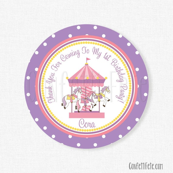Carousel Favor Tags, Carousel Gift Tags, Carnival Party Tag, Merry Go Round Tag, Carousel Party Favors, Personalized