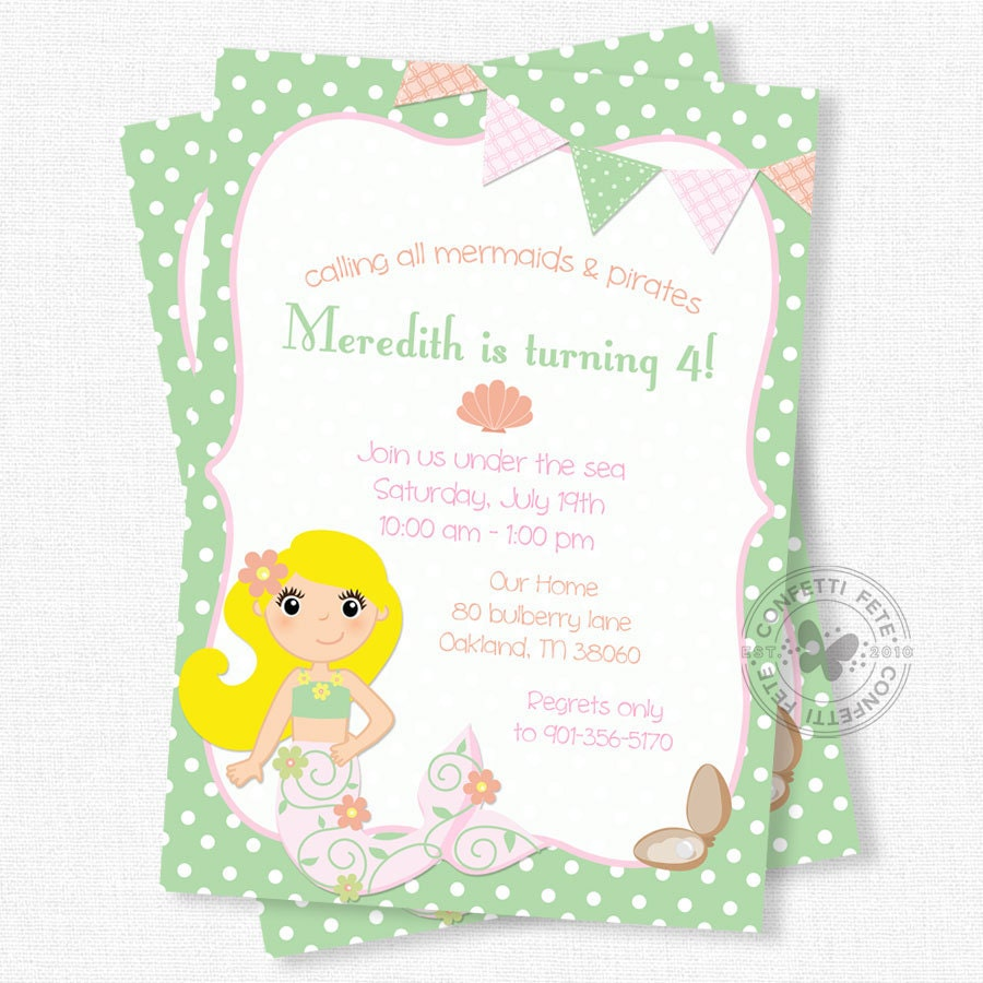 Mermaid Birthday Invitation Mermaid Party Invitation Under