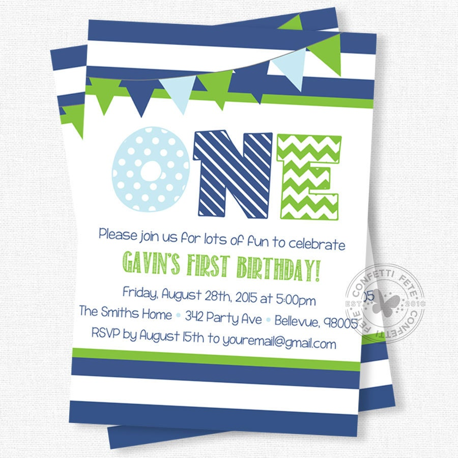 First Birthday Invitation Blue And Green Party Invitation