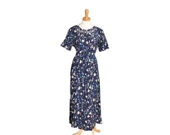 CIJ 40% off sale // Vintage 90s Full Length Short Sleeve Floral Pattern Dress - Women M L - Grunge - Nos nwt - Liz Baker