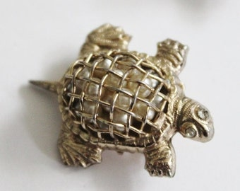30% off sale // Vintage 40s Coro Gold Tone Turtle Pin Brooch - Caged Faux Pearls, Small
