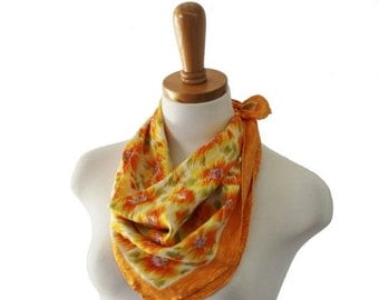BLOWOUT 40% off sale Vintage 70s Orange and Yellow Painted Floral Print Scarf - Silk