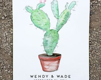 Wedding Guest Book Alternative, signature guestbook, Watercolor Cactus, Prickly Pear Cactus, (w/1 ink pad + pen), Like Fingerprint Tree