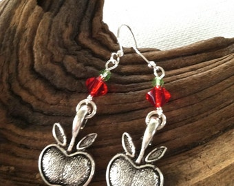 Unique Teacher Gift Apple for the Teacher Silver Apple Earrings with Red and Green Crystals
