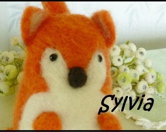 Needle felted fox white and orange hand made wool toy collectible Sylvia
