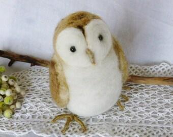 Barn owl needle felted sculpture collectible bird woodland decor fiber art