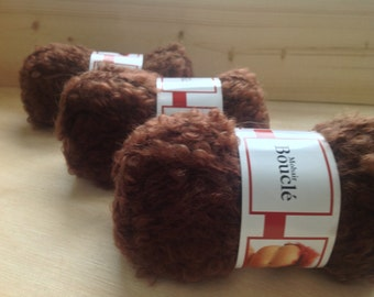 MOHAIR BOUCLE YARN - Brown - Doll Hair 10g & 50gr
