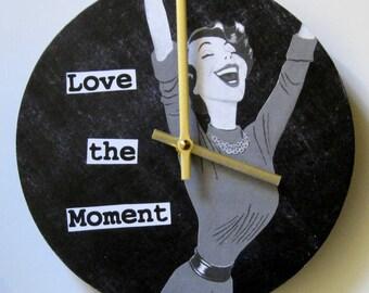 Wall clock. Clock for women. Inspirational clock. Clock with words. Unique clock. Retro clock.
