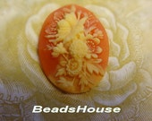64-00-Cm  2pcs Pretty Rose Oval Cameo (30 x 40 mm)- Peony on Coral