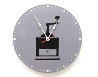 Coffee Grinder Wall Clock Grey