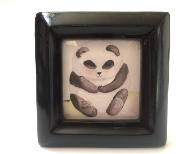 Mini Art Panda Art My Little Red Friend, Panda and Ladybug, tiny framed print of my watercolor, in 3 x 3 frame
