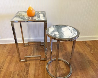 CHROME and MARBLE ACCENT Tables One Round One Square with Asian Flair, Minimalist, Modern, Contemporary at Modern Logic