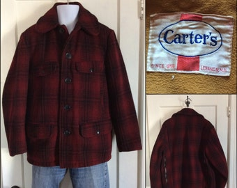 1950's Carter's Wool Hunting Jacket Coat Dark Red and Black Plaid looks size L