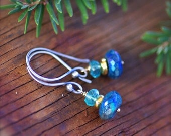 Mystic Blue Chrysocolla and Apatite Gemstone Earrings with Gold Filled and Sterling Silver