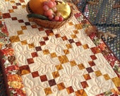 Autumn Criss Cross 19x39 quilted table runner in fall colors