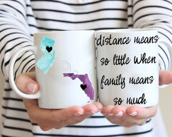 Family mug, Mom State Mug, Long Distance family Coffee Cup, Custom / personalized Gift, Mothers Day Gift, Birthday Gift, Gift from Daughter