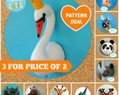 Animal head sewing pattern. Faux taxidermy PDF deal 3 for price 2. Giraffe, Deer, Panda, Swan, Zebra, Unicorn, Rhino, Narwhal, Dinosaur