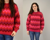 Pullover sweater CHEVRON stripe christmas holiday pink indie hipster hot fuscia pink bright fuzzy  vintage by Ingrid Iceland IngridIceland