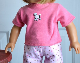 18 Inch Doll Pink Polka Dot Boxer Shorts and Pink Cotton Knit Tshirt with Poodle Applique by SEWSWEETDAISY
