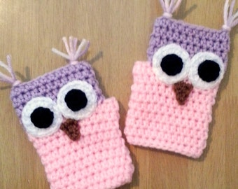 Childrens Fingerless Gloves, Pink and Purple Owl Gloves, Crochet Fingerless Gloves,Girls Wrist Warmers