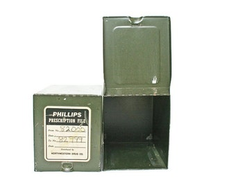 Vintage File Boxes / Prescription Pharmacy / Metal Drawer / Green Card File Drawers / Industrial Storage / Home or Office Decor