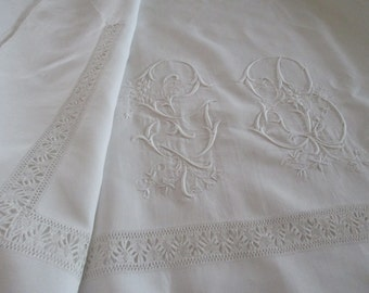 Antique French Linen Sheet Huge GB Monogram and Deep Reticella Lace