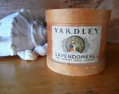 Vintage Yardley round wooden box used for Lavendomeal Bath Salts for vintage bath display