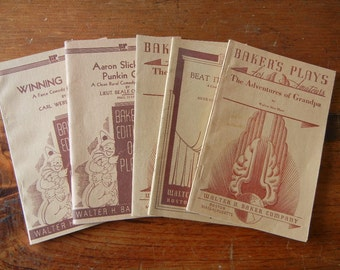 Five Vintage Play scripts published by Bakers Royalty plays Amateur Beat it, Beatnik Adventures of Grandpa Little Red Mare