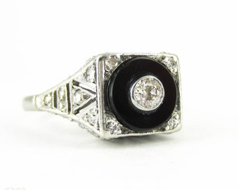 Vintage Onyx & Diamond Ring, Pierced Platinum Filigree Ring with Diamonds in Onyx Frame. Art Deco Style, Circa 1940s.