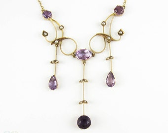 Stunning Late Victorian Antique Necklace. Amethyst & Seed Pearl Festoon Necklace in Yellow Gold.
