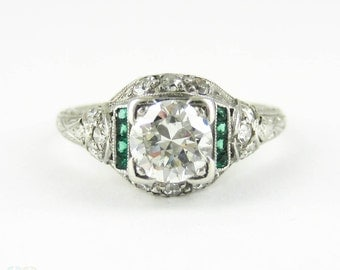 Diamond & Emerald Engagement Ring, Old European and French Cut Gemstones in Platinum Filigree. Edwardian, Circa 1910s, 0.86 ctw.