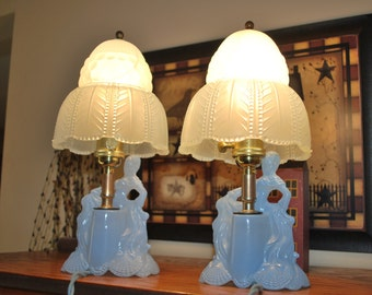 Beautiful French Style Lady with Parasol Aqua Blue Boudoir Table Lamps, Completely Refurbished.