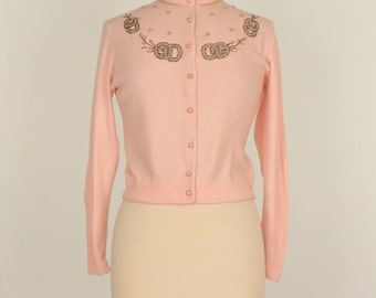 Vintage 1950s Sweater...Darling Soft Pink Sweater with Beading