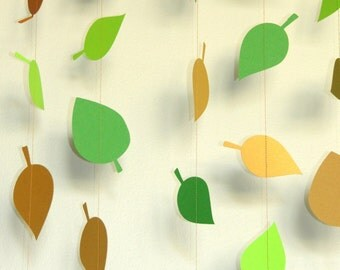 Party or Shower Decoration: Garland - woodland green, brown and gold leaves, forest friends