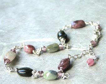SALE Gemstone Bracelet / Tourmaline Bracelet / Sterling Silver / Gift for Her / Genuine Tourmaline Crystal Bracelet / Accessories