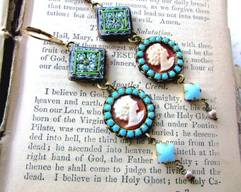 Renaissance Woman, Vintage Micro Mosaic, Hard Carved Shell Cameos & Swarovski Turquoise Crystal Vintage Pearls Altered Assemblage Earrings