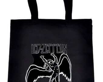 Led Zeppelin on Black Tote Book Bag Rock n Roll 1977 Handbag
