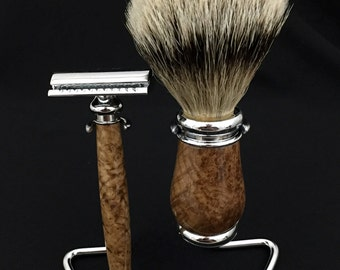 Shaving Set - Black Ash Burl Wood with Chrome Hardware