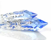 Blue Sapphire Earrings Sterling Silver Earrings Swarovski Blue Crystal Earrings Sapphire Jewelry Light Blue Long Dangle Drop Earrings