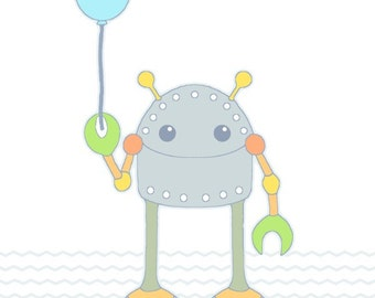 BALLOON COLORS Robot illustration, balloon print, whimsical art, kids room decor, whimsical art, kids wall art, baby gift, nursery decor