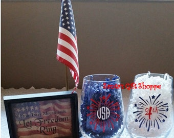4th of July Party Decals for Glass - 1 Vinyl Decal - Patriotic - USA - Fireworks - Flag - Red White & Blue - Country