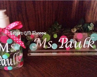 Teacher's Gift Set, Personalized Name Plate & Hand Sanitizer, Matching Gift Set, Desk, Office, Hand Sanitizer, Acrylic Name Plate, Christmas