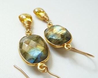 SALE Flashy Labradorite bezel Citrine earrings. Dangle earrings. Birthstone jewelry. Drop earrings. November birthstone earrings. Gift
