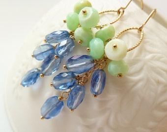 Cornflower blue Kyanite mint Opal dangle earrings. September birthstone jewelry. Kyanite earrings. Denim blue Kyanite. Blue and mint wedding