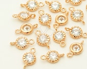 AC-586-RG / 4 Pcs - Vintage Round CZ Connector (Small), Rose Gold Plated over Brass / 5.8mm x 10mm