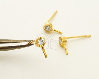 SI-743-GD / 4 Pcs - Simple and Mini Round CZ Studs Earrings for Half Drilled Pearls, Gold Plated over Brass / 3.7mm